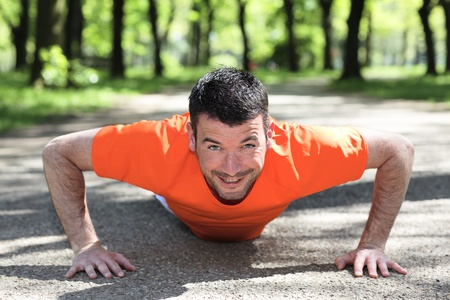 man doing exercice in a park in summer Stock Photo - 9769977