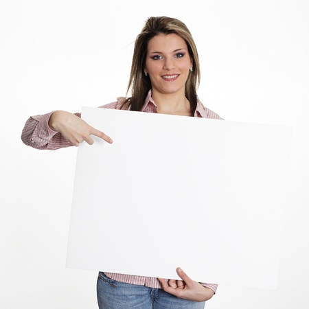 young woman in studio with white board photo