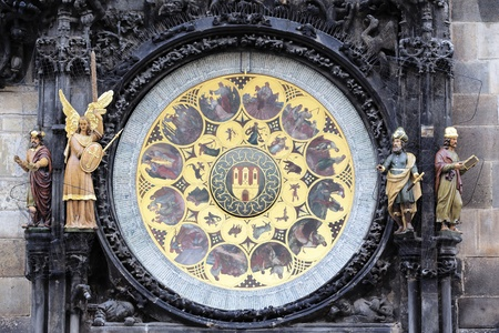 zodiacal: part of famous zodiacal clock in Prague city