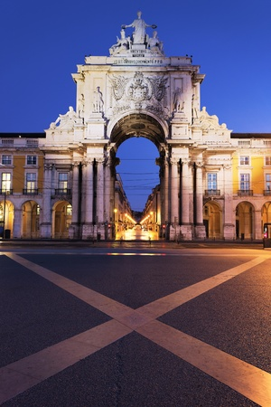 lisboa: Stone arch at commerce square at Lisbon by night