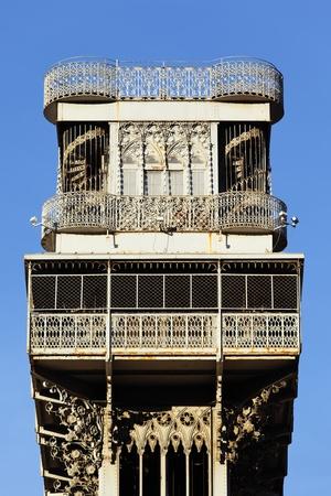 elevador: Santa Justa Elevator in Lisbon in summer, Portugal