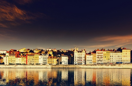 lyon: Panoramic view of Lyon and Saone River in sunset