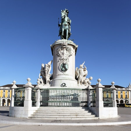 statue on commerce square in Lisbon, Portugal photo