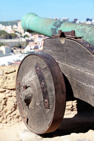 bombshell: cannon of Saint George Castle in Lisbon, Portugal