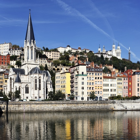 lyon: view of Lyon and Saone River in morning Editorial