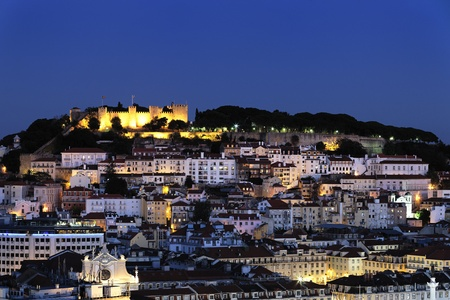 nighttime: City of Lisbon lluminated at dusk, Portugal