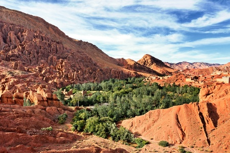 mountain oasis: Panorama of a village in Moroccan valley Stock Photo