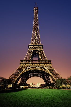 Eiffel Tower in the evening after sunset