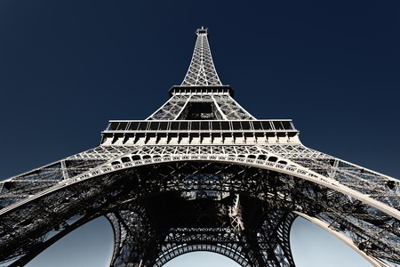 eiffel tower architecture: famous Eiffel tower with blue sky in Paris