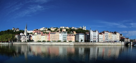 Panoramic view of Lyon and Saone River in summer