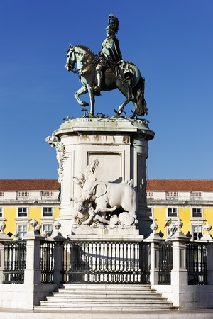 the statue on commerce square in Lisbon, Portugal photo