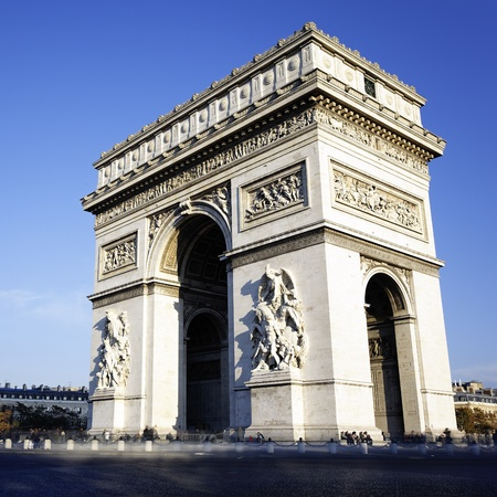 triumphe: view of the Arc de Triomphe, Paris, France