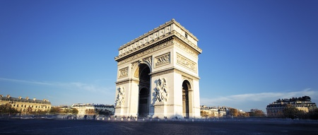 Arc de Triomphe: panoramic view of the Arc de Triomphe, Paris, France Stock Photo