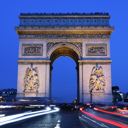 Arc de Triomphe: view of Arc de Triomphe by night, Paris