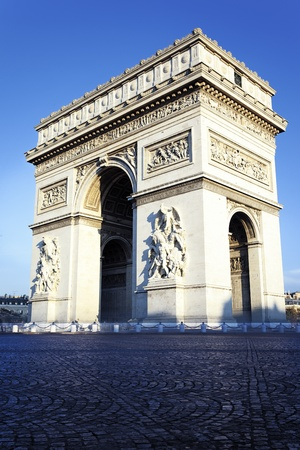 vertical view of Arc de Triomphe in Paris Stock Photo