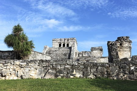 view of Tulum ruins in Mexico with blue sky Stock Photo - 12631569