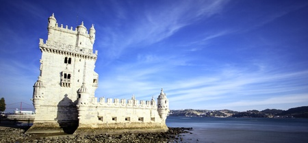 belem: panoramic view of Tower of Belem with blue sky, Lisbon
