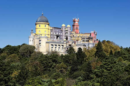 pena: view of Pena castle in sintra, Portugal Editorial