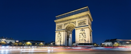 Panoramic view of Arc de Triomphe by night xith car lights photo