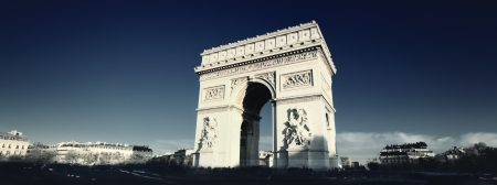 triumphe: panoramic view of the Arc de Triomphe with special photographic processing Stock Photo