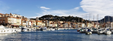 panoramic view of Cassis harbor, in France