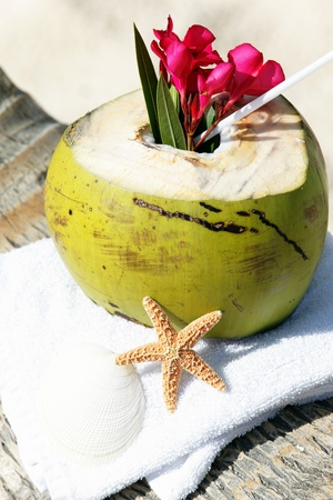 caribbean drink: Coconut with drinking straw on a palm tree on a beach