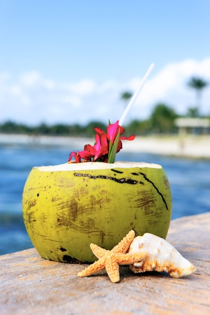 Coconut with drinking straw on a beach in Mexico photo