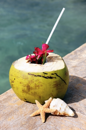 Coconut with drinking straw in summer  photo