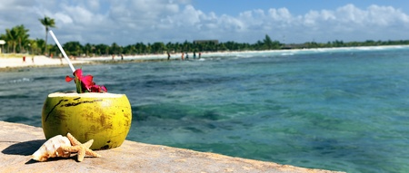caribbean food: Coconut with drinking straw  at the sea