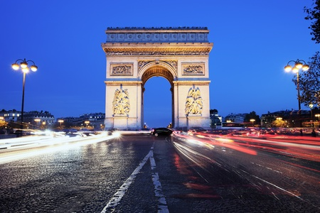 Paris, Arc de Triomphe by night photo
