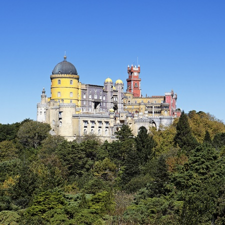 view of Pena castle in sintra in Portugal