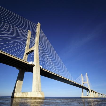 part of Vasco da Gama bridge in Lisbon, Portugal  Imagens