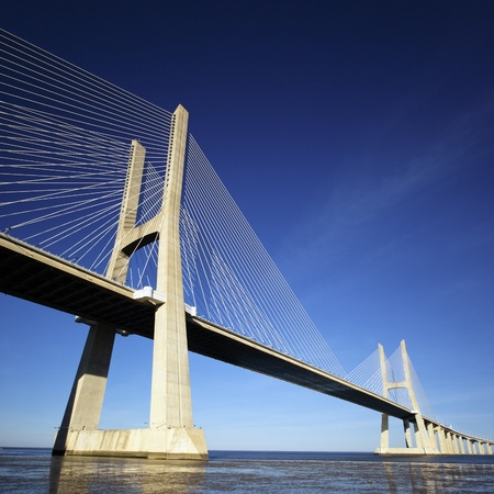 lisbon: part of Vasco da Gama bridge in Lisbon, Portugal  Stock Photo