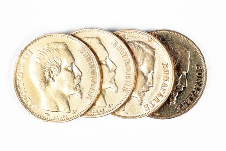 napoleon: some french gold coins with Napoleon on it
