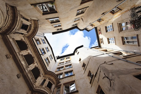 passageways: courtyard of an antique building in Lyon, France