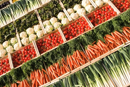 different types of fresh vegetables on market photo