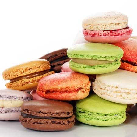Macaroons assortment isolated on white background  photo