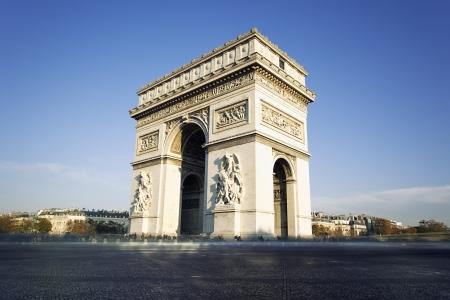 triumphe: view of famous Arc de Triomphe in Paris, France