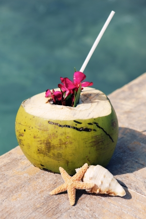 coconut drink: A coconut with drinking straw on a beach in summer