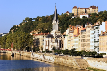 part of the city of Lyon with the Church of St. George, France