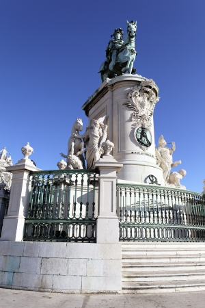 famous statue of commerce square in Lisbon, Portugal photo