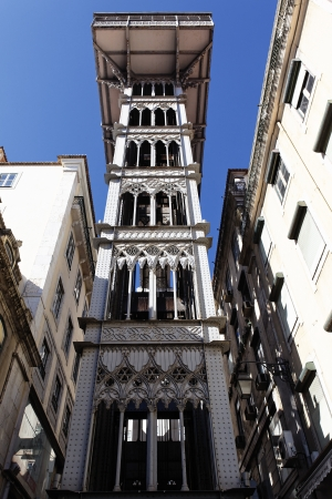 elevador: the Santa Justa Elevator in Lisbon, Portugal Stock Photo