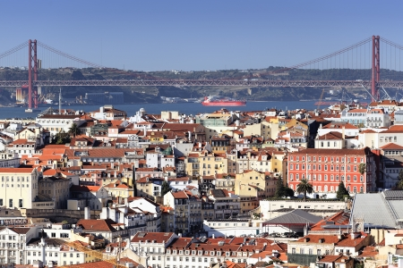 tagus: Panoramic view of Lisbon and the river Tagus, Portugal