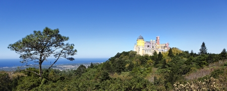 pena: panoramic view of Pena castle in sintra, Portugal