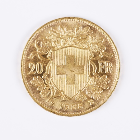 Twenty Swiss Francs Gold Coin, year 1935 Stock Photo
