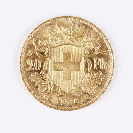 swiss: Twenty Swiss Francs Gold Coin, year 1935 Stock Photo