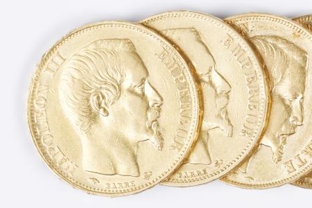 napoleon iii: some french gold coins with Napoleon III