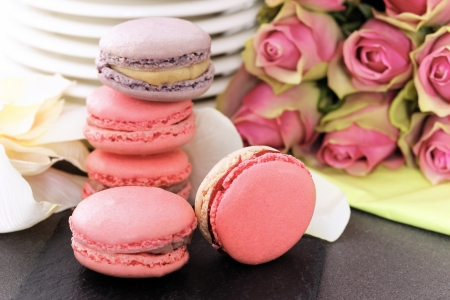 wedding dessert with macaroons, coffee and strawberry photo