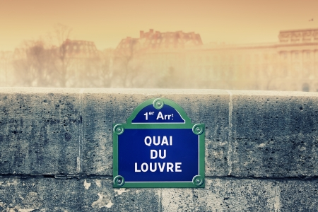 quai du Louvre street sign in Paris photo