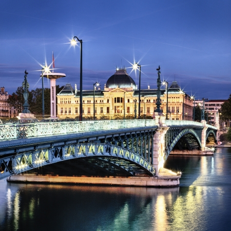 rhone: Bridge of University in Lyon by night